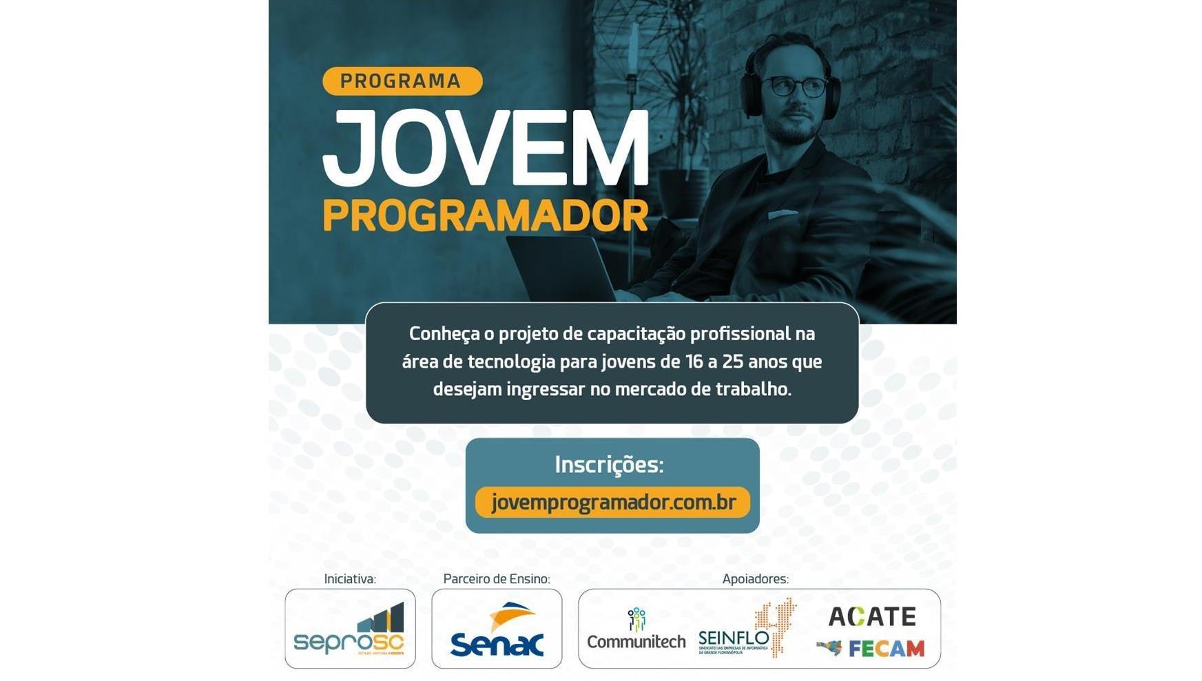 Jovem Programador: inscrições abertas para o projeto de capacitação tecnológica