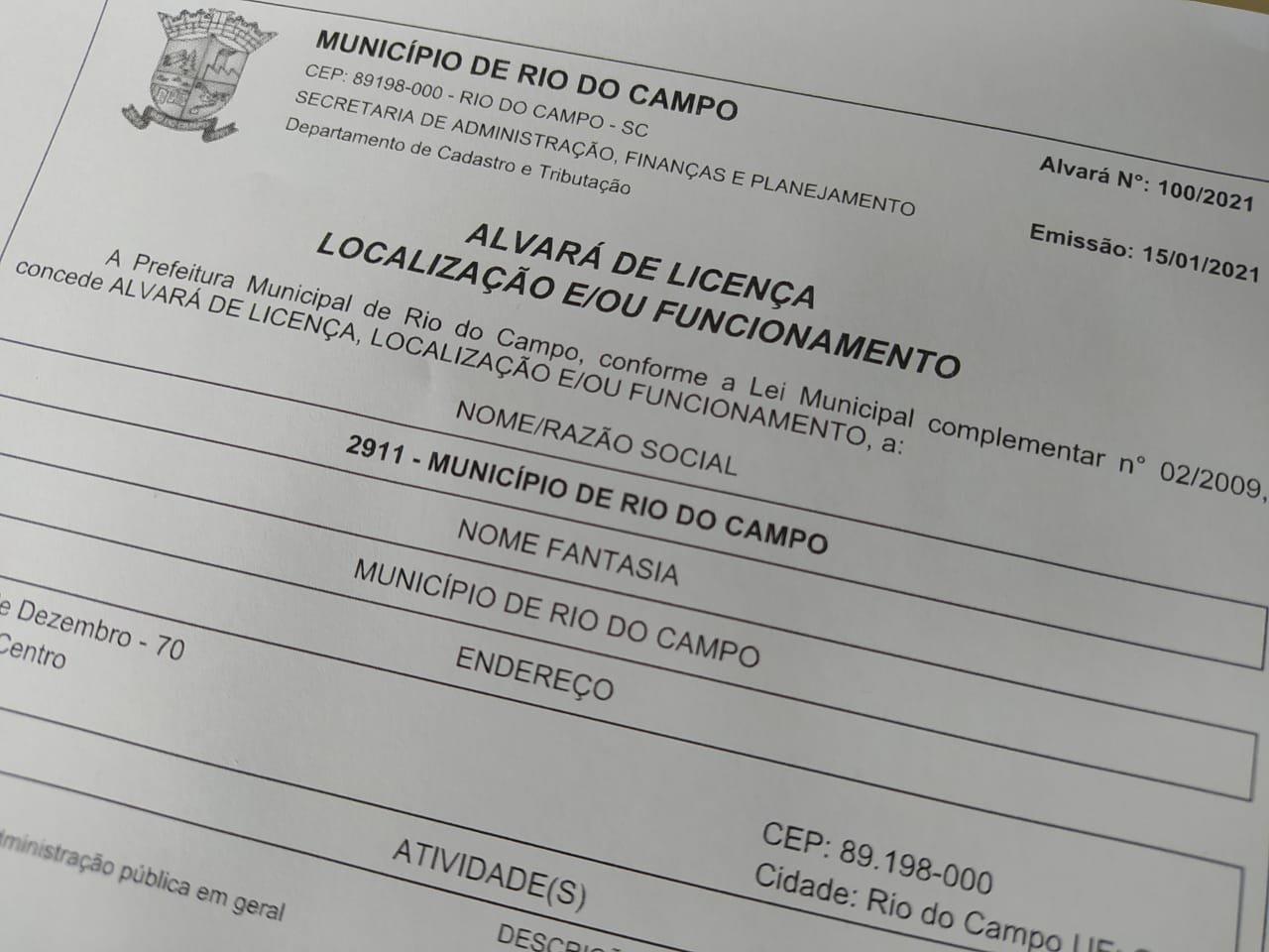 Empresários de Rio do Campo já podem solicitar alvará